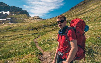 Hiker in Hornstrandir nature reserve