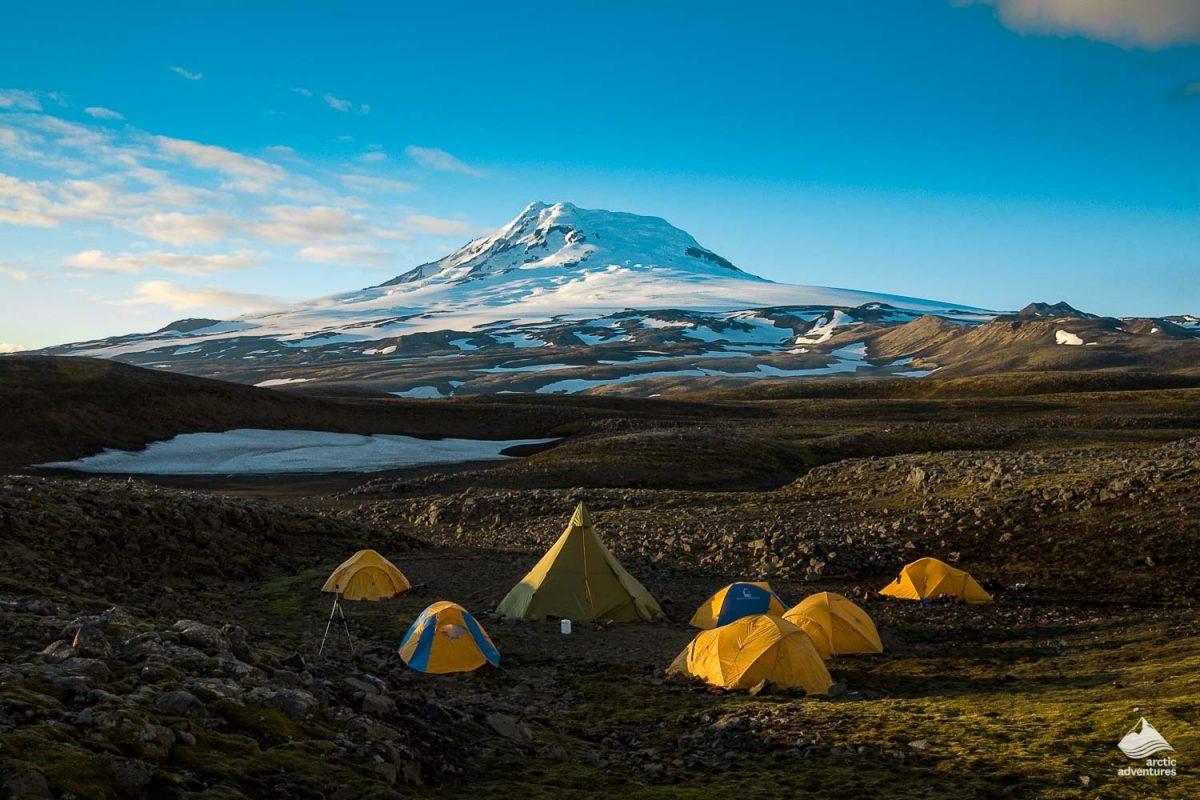 Tents in Hornstrandir Westfjords of Iceland