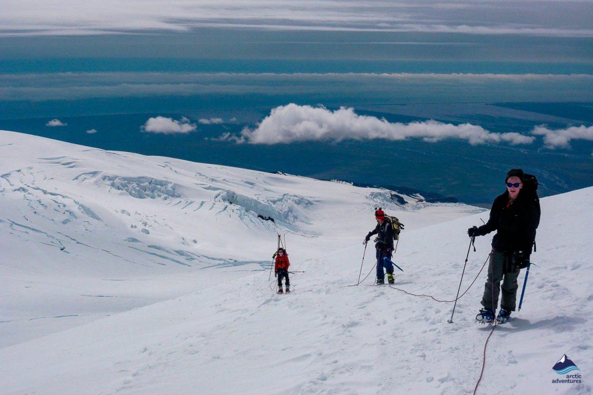 People hiking on Hvannadalshnukur highest peak
