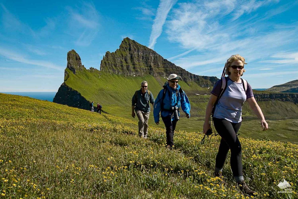 People hiking in Hornstrandir in the Westfjords