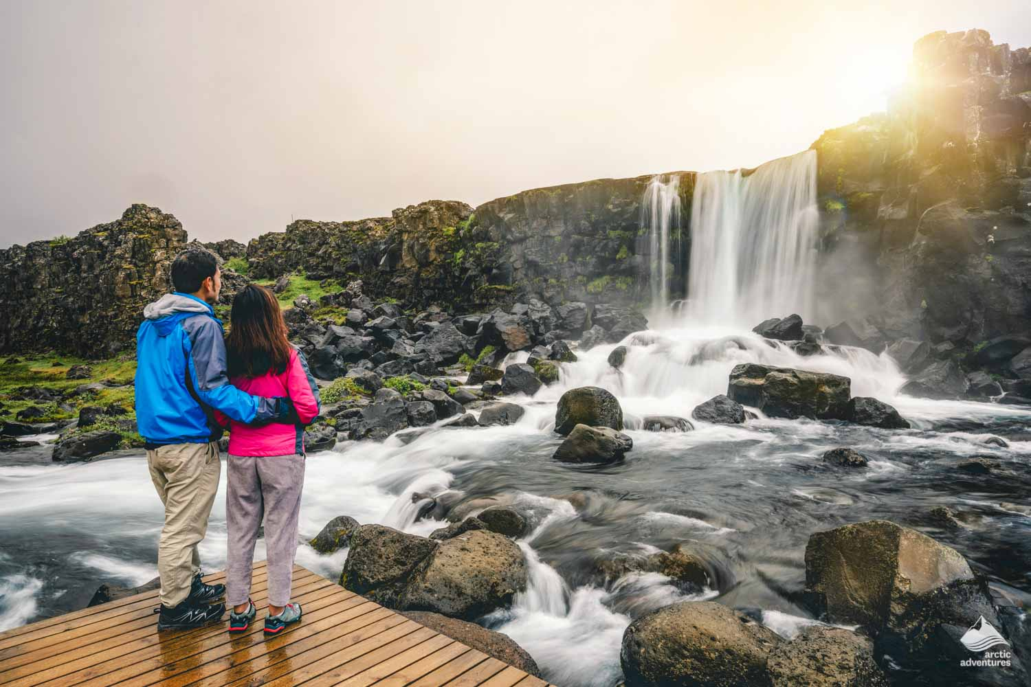 Oxararfoss Waterfall's beautiful scenery