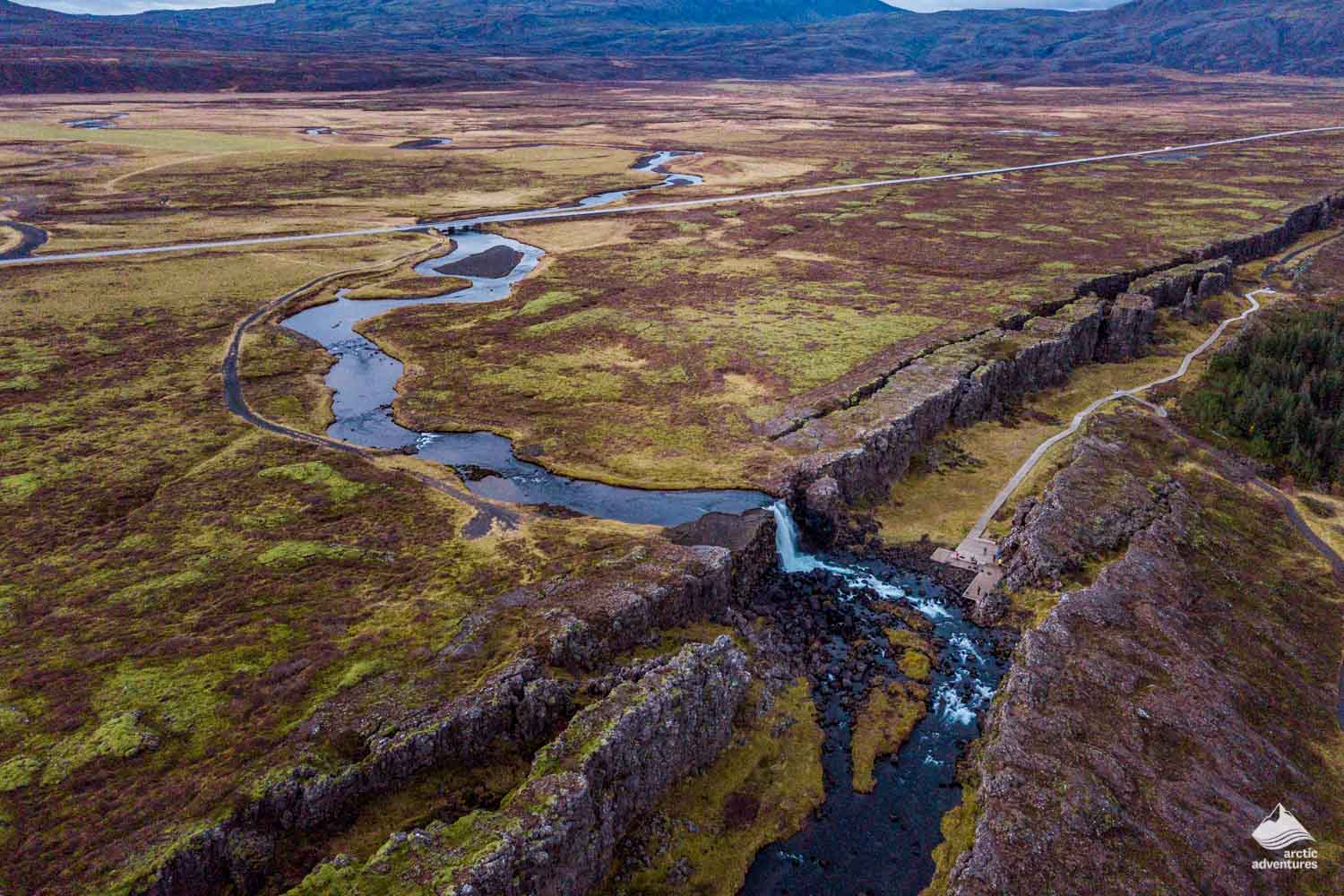 Thingvellir Oxararfoss waterfall from above