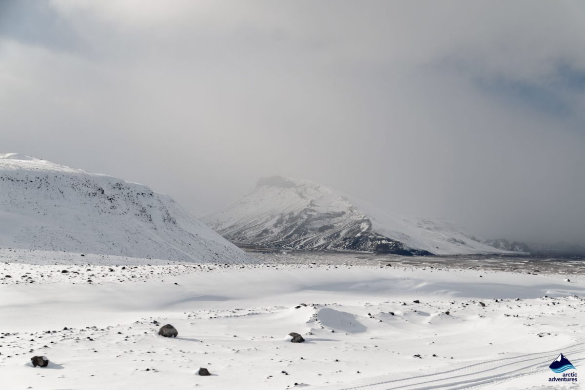 Snowy Langjökull glacier in Iceland
