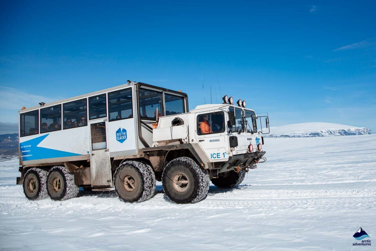Monster truck on Langjokull Glacier in Iceland