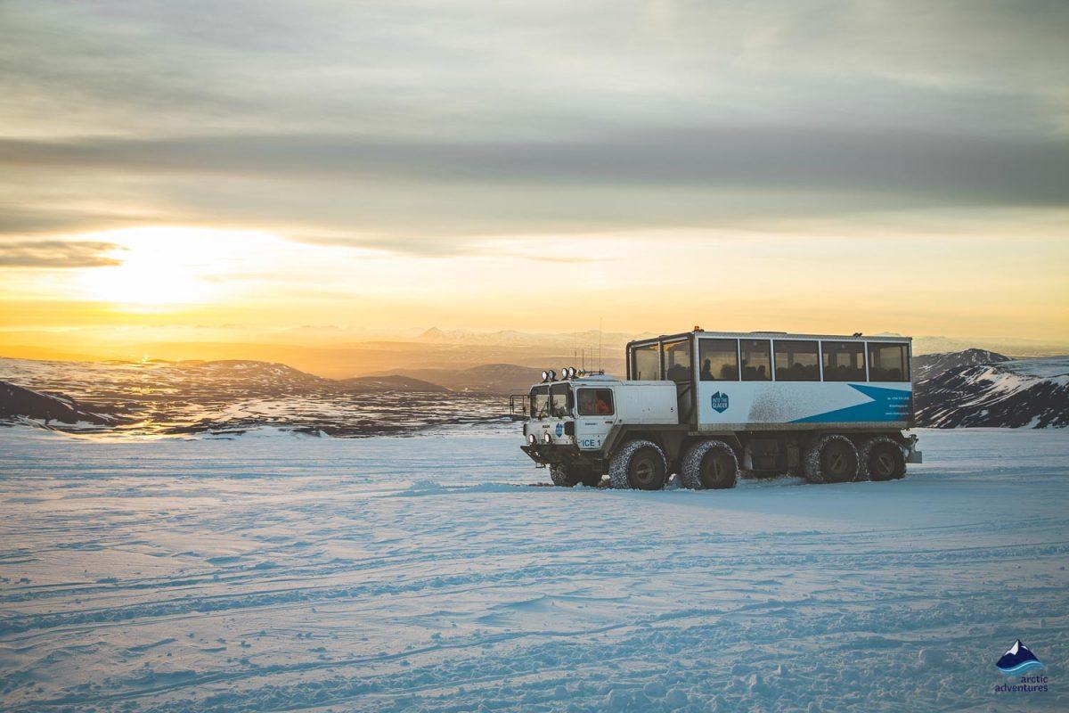 Into the glacier truck at the sunshine