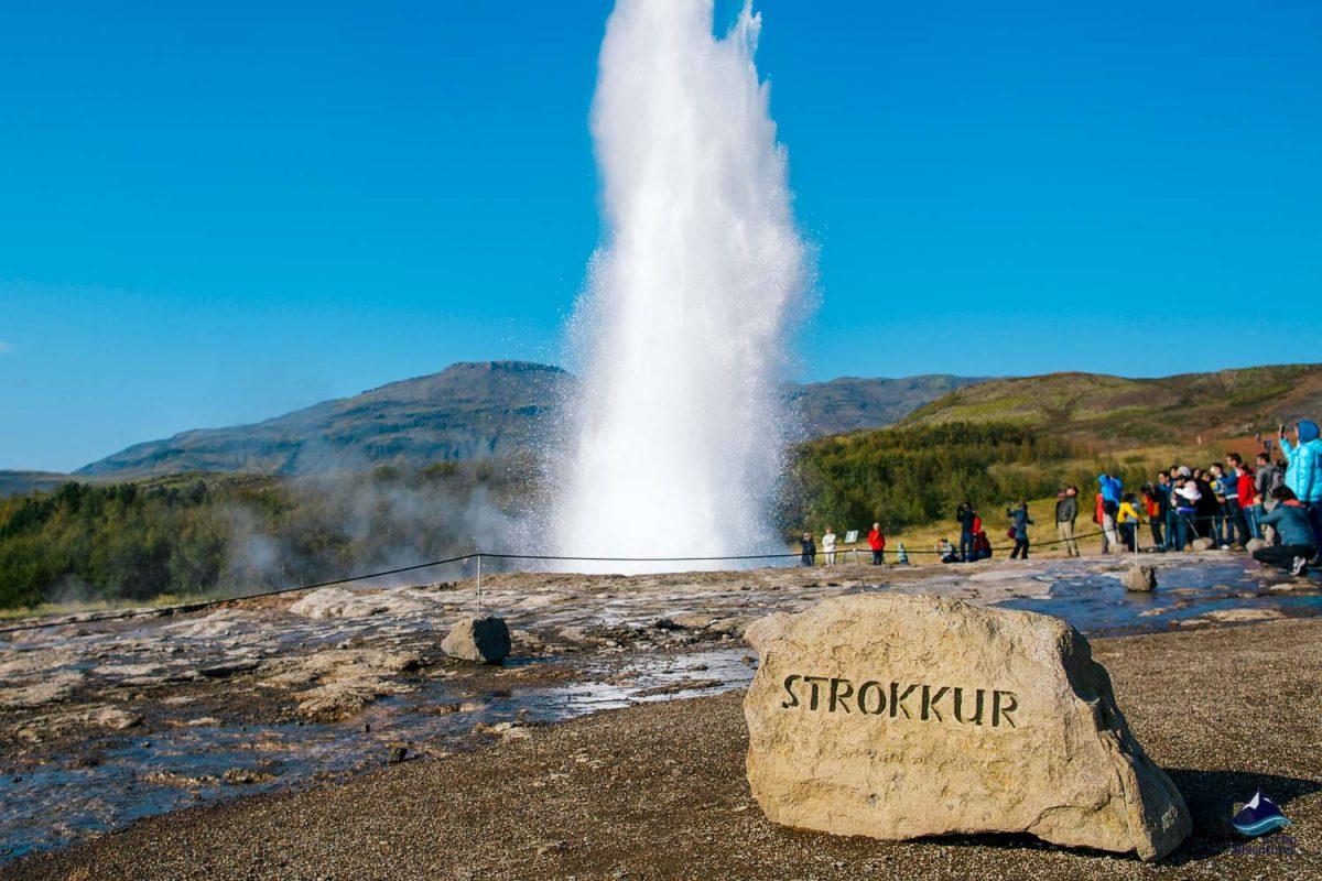 Strokkur Geyser Rock Sign in Iceland