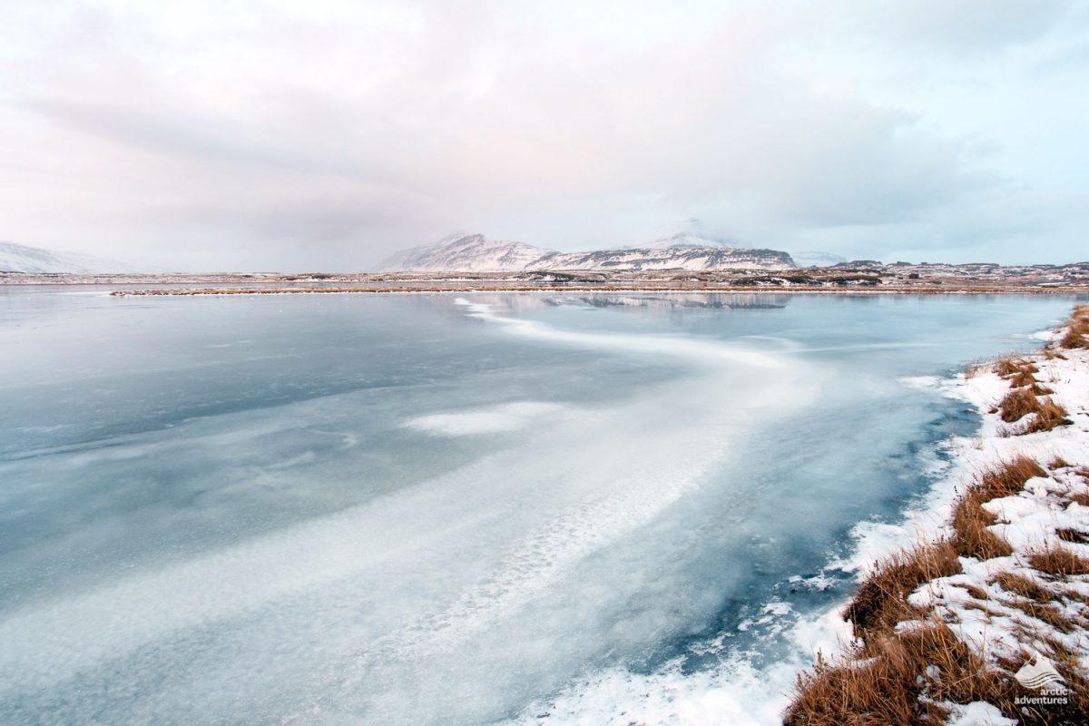 Lagarfljot Lake landscape in winter