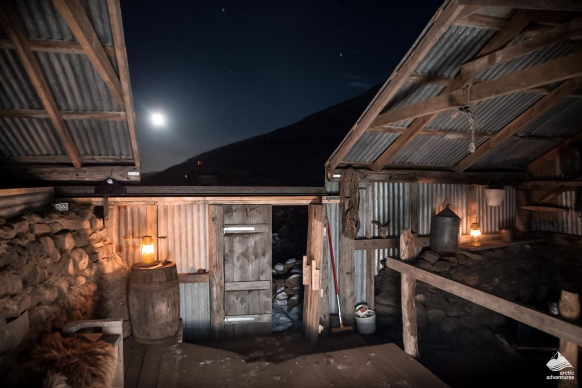 Farm at night in Iceland