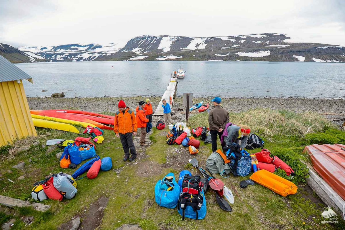 Kayaking gear near Vigur island in Iceland