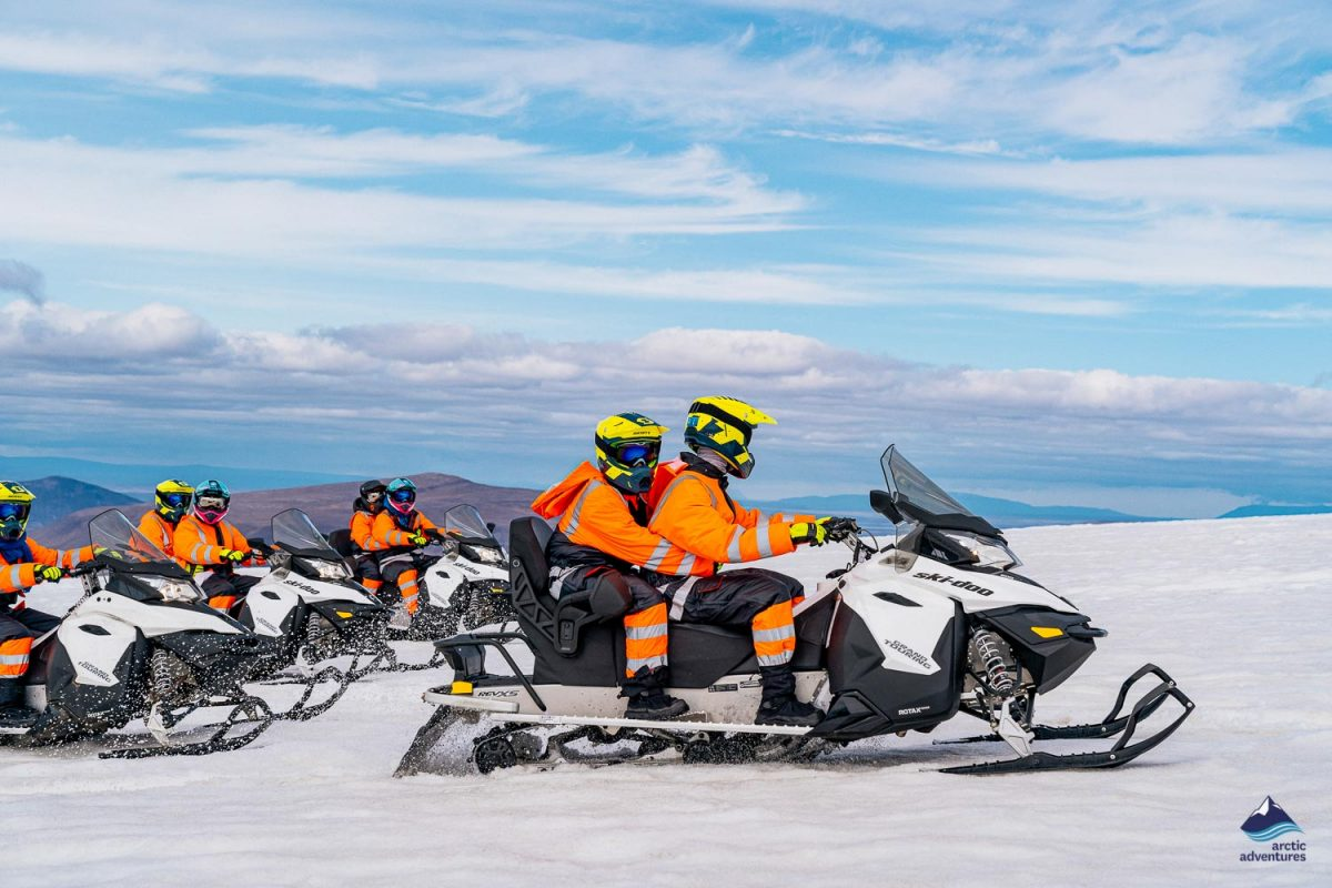 Snowmobiling on glacier in Iceland