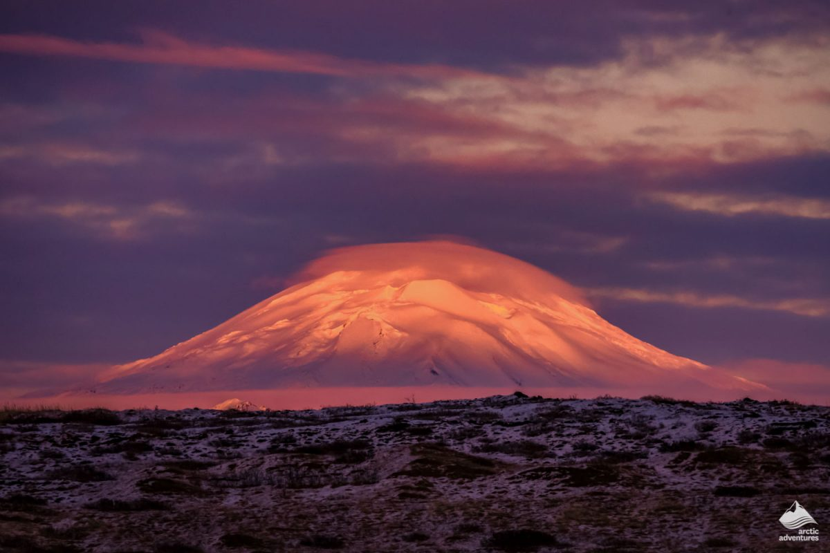 Hekla Volcano at sunset
