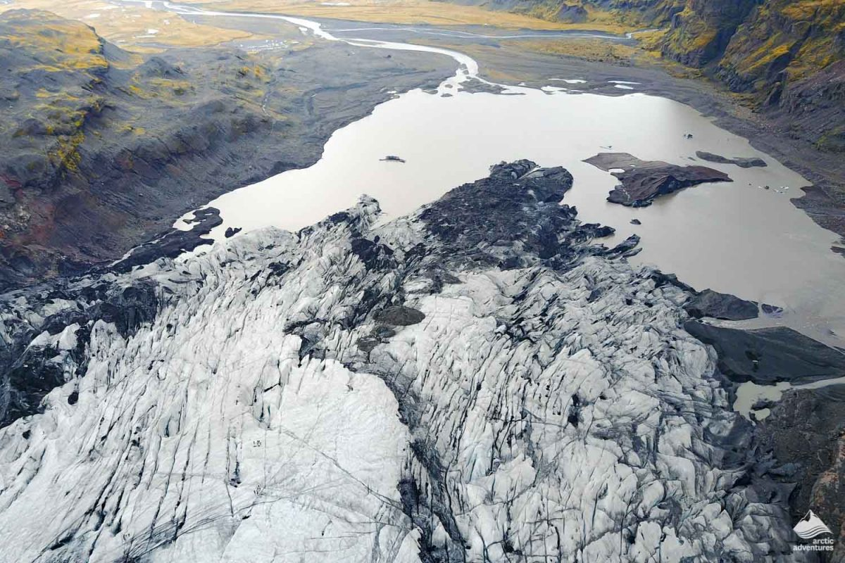 Aerial view of Solheimajokull glacier