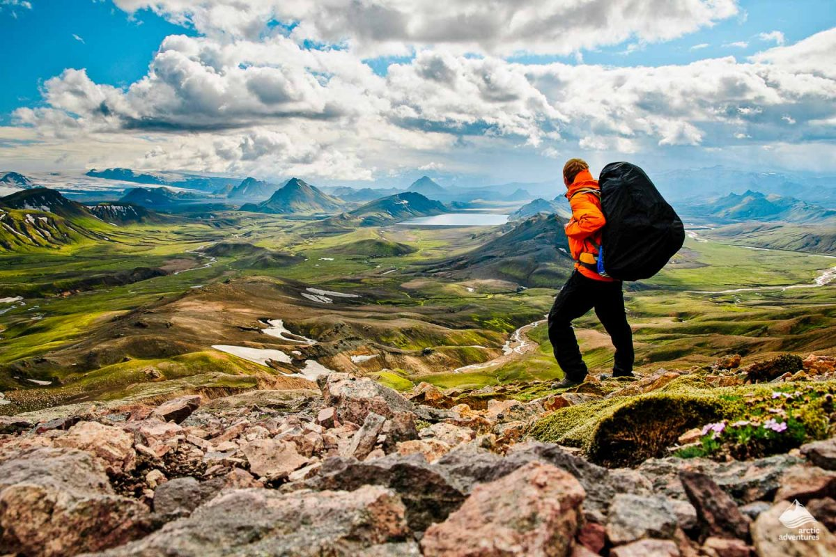 Man on the top of Laugavegur trek