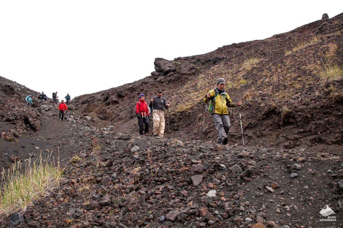 People on Laugavegur trail downhill
