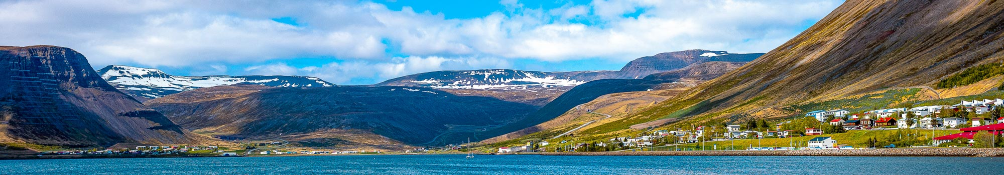 Isafjordur town surrounded by mountains in Iceland