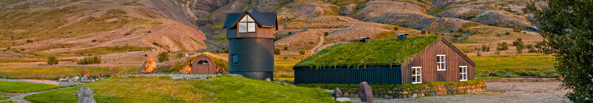 Turf house in Husafell in Iceland
