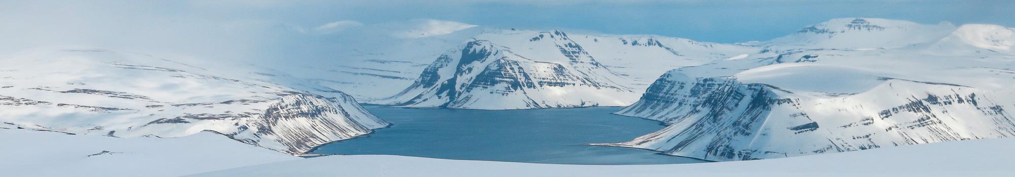 Landscape winter Westfjords of Iceland