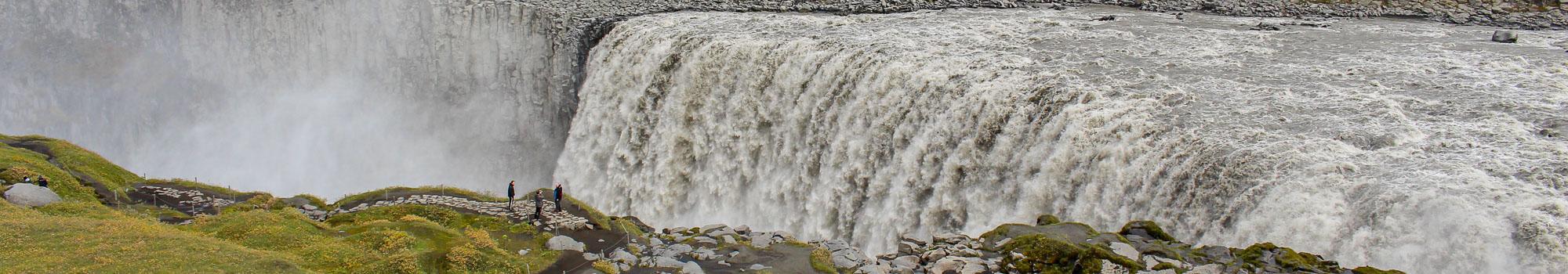 Dettifoss waterfall panoramic view